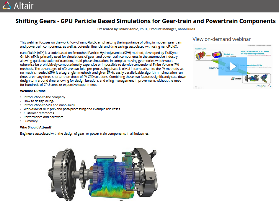 Shifting Gears - GPU Particle Based Simulations for Gear-train and
