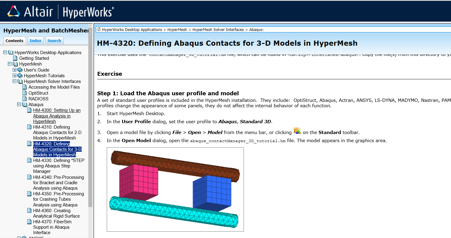 contacts for abaqus solver using hypermesh - Altair