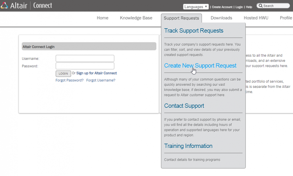 Altair Connect website Create New Support Request