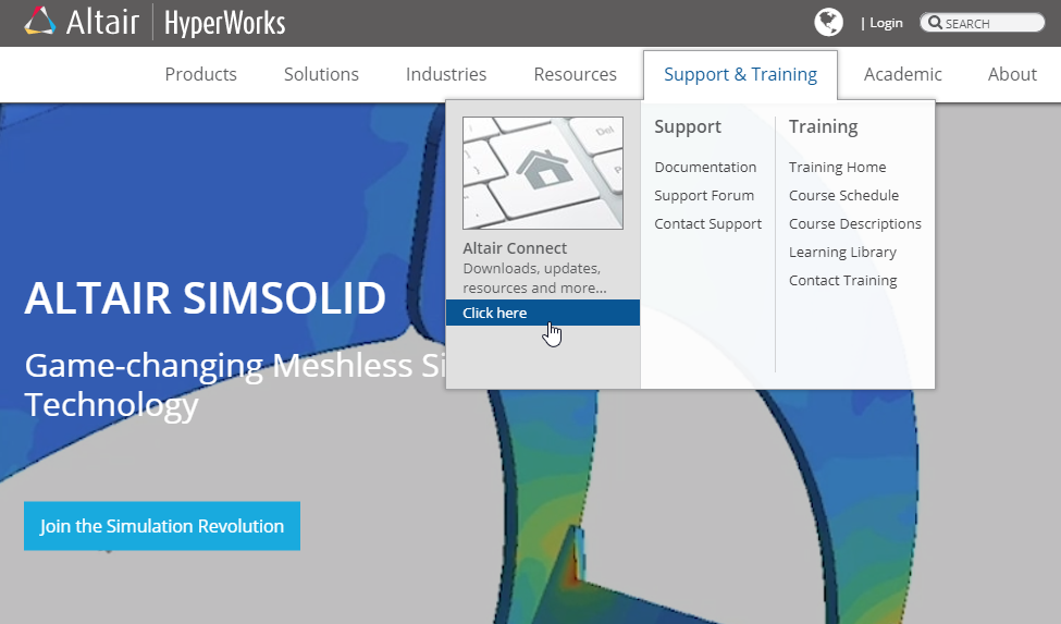 Altair HyperWorks website Support and Training